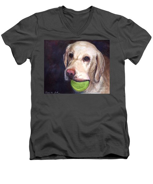 Throw The Ball Men's V-Neck T-Shirt by Molly Poole