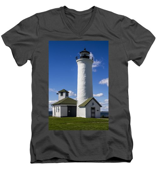 Tibbetts Point Lighthouse Men's V-Neck T-Shirt by Ben and Raisa Gertsberg
