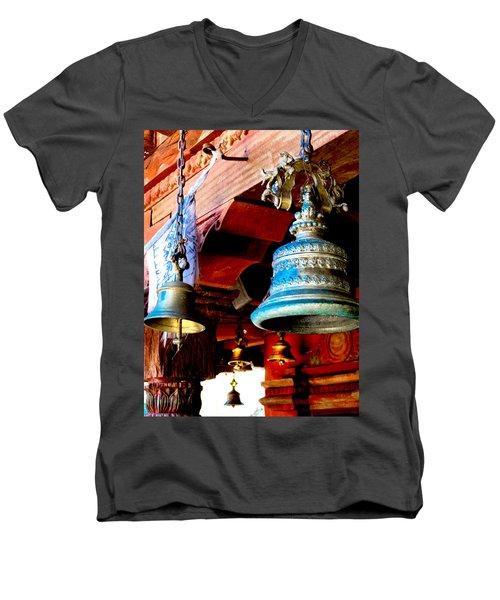 Tibetan Bells Men's V-Neck T-Shirt by Greg Fortier