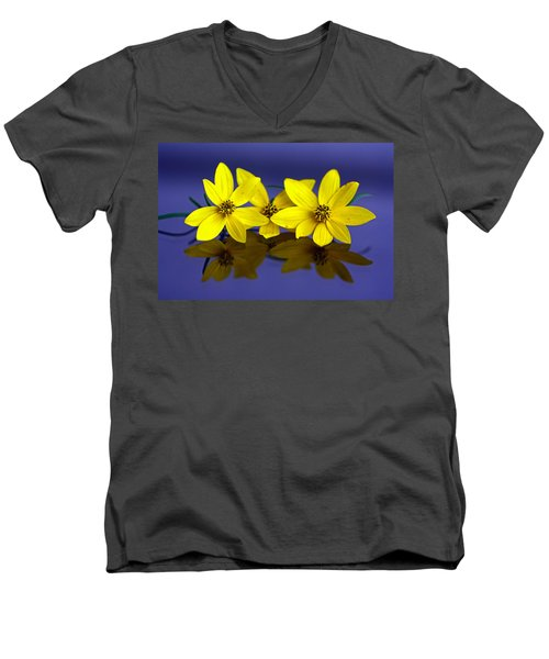 Men's V-Neck T-Shirt featuring the photograph Tickseed Trio by Suzanne Stout