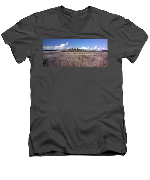 Men's V-Neck T-Shirt featuring the photograph Tidal Marsh On Roanoke Island by Greg Reed