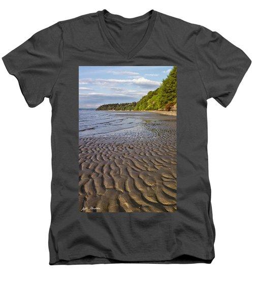 Tidal Pattern In The Sand Men's V-Neck T-Shirt by Jeff Goulden