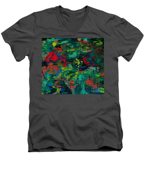 Men's V-Neck T-Shirt featuring the painting Tide Pool by Jacqueline McReynolds