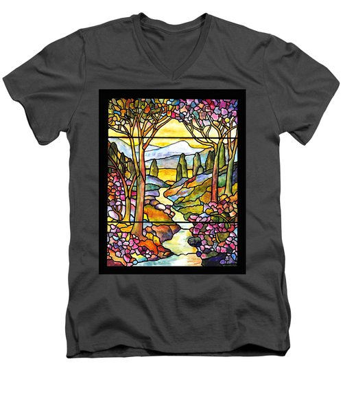 Tiffany Landscape Window Men's V-Neck T-Shirt
