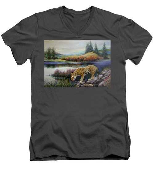 Tiger By The River Men's V-Neck T-Shirt
