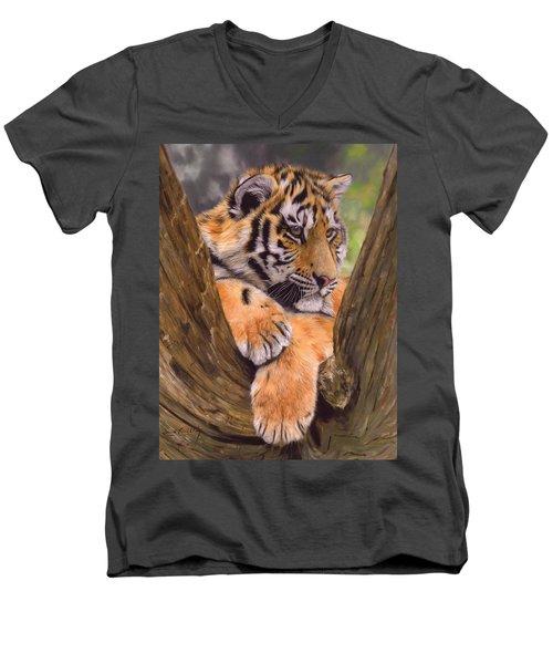 Tiger Cub Painting Men's V-Neck T-Shirt by David Stribbling