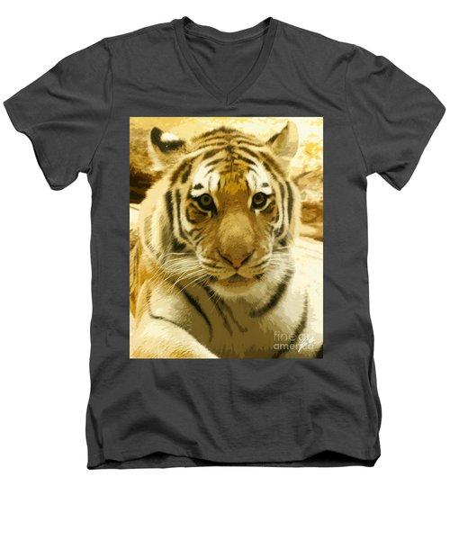 Men's V-Neck T-Shirt featuring the digital art Tiger Eyes by Erika Weber