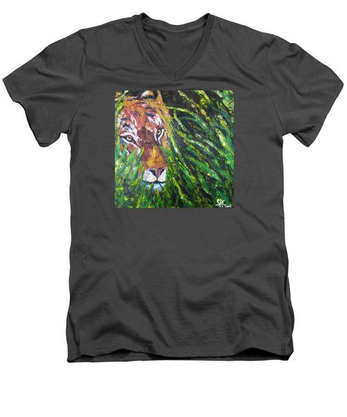 Tiger In The Grass  Men's V-Neck T-Shirt