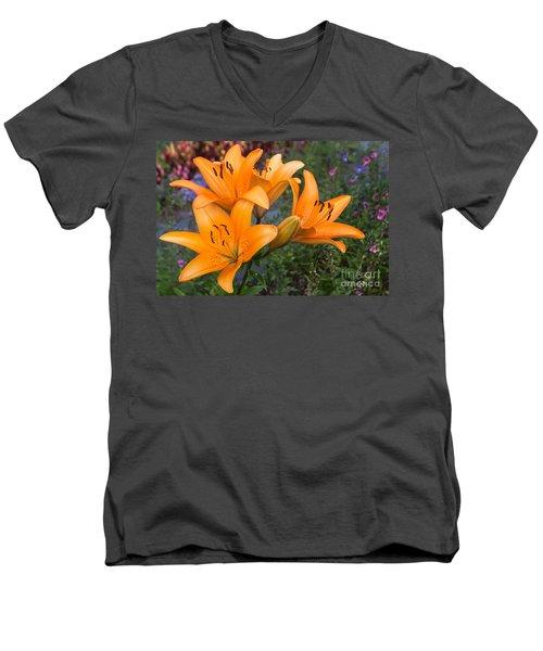 Tiger Lilies Men's V-Neck T-Shirt