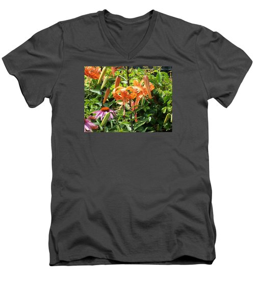 Tiger Lilies Men's V-Neck T-Shirt by Catherine Gagne