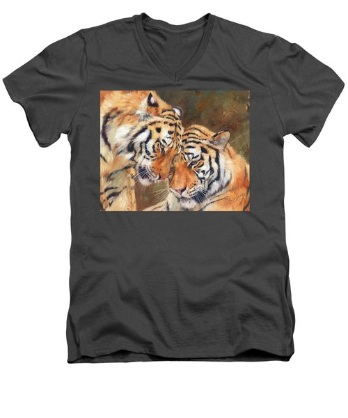 Tiger Love Men's V-Neck T-Shirt by David Stribbling