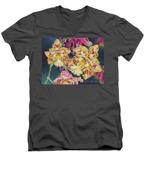 Tiger Orchid Men's V-Neck T-Shirt by Jane Girardot