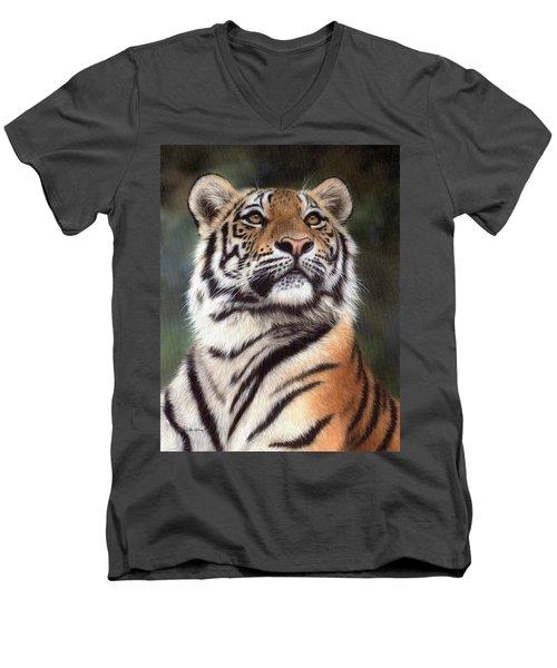 Tiger Painting Men's V-Neck T-Shirt