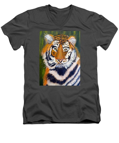Tiger Men's V-Neck T-Shirt by Pamela  Meredith