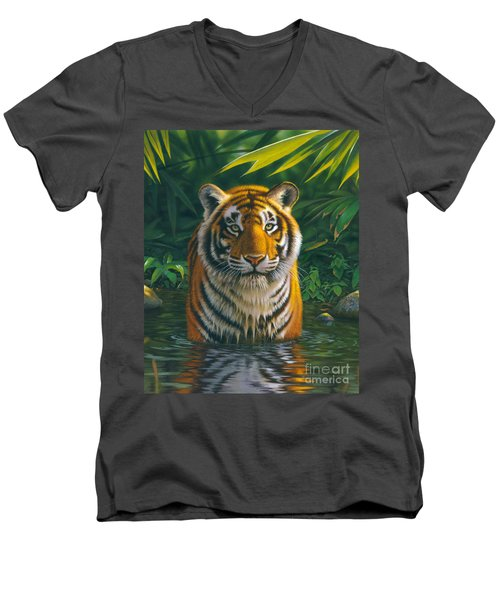 Tiger Pool Men's V-Neck T-Shirt by MGL Studio - Chris Hiett