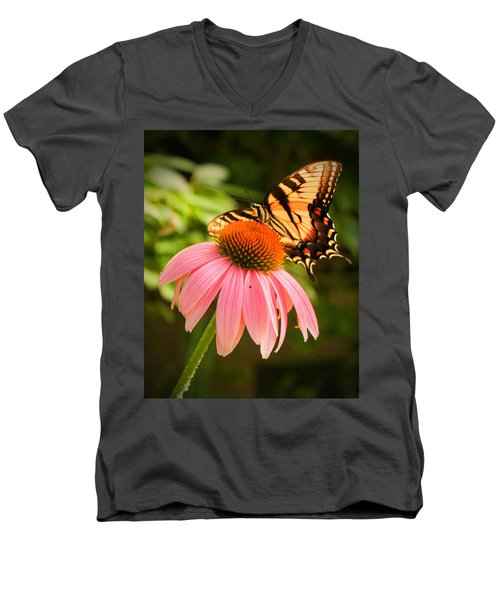 Tiger Swallowtail Feeding Men's V-Neck T-Shirt by Michael Porchik