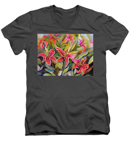 Tigers In My Garden Men's V-Neck T-Shirt