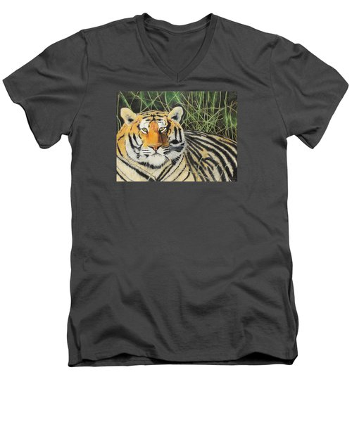 Men's V-Neck T-Shirt featuring the painting Tigress by Jeanne Fischer