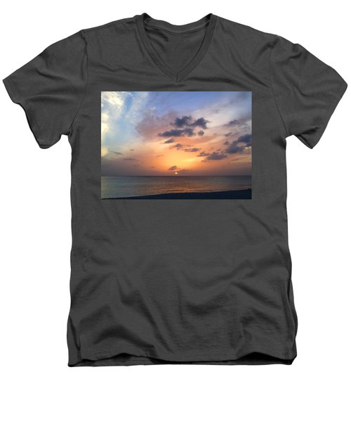 Tiki Beach Caribbean Sunset Men's V-Neck T-Shirt