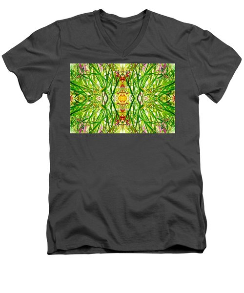 Tiki Idols In The Grass  Men's V-Neck T-Shirt by Marianne Dow