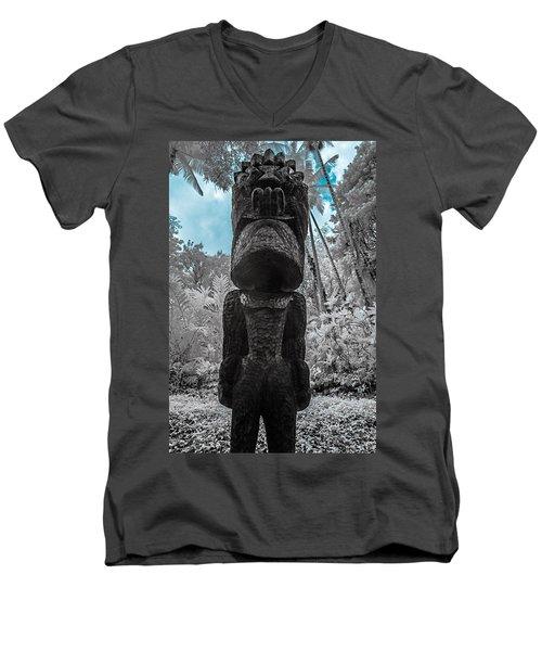 Tiki Man In Infrared Men's V-Neck T-Shirt