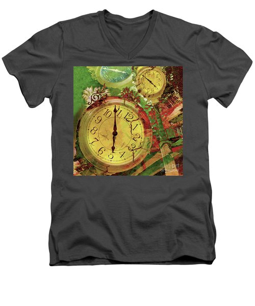 Time 6 Men's V-Neck T-Shirt by Claudia Ellis