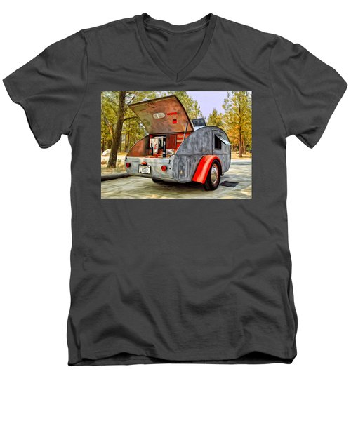 Time For Camping Men's V-Neck T-Shirt by Michael Pickett