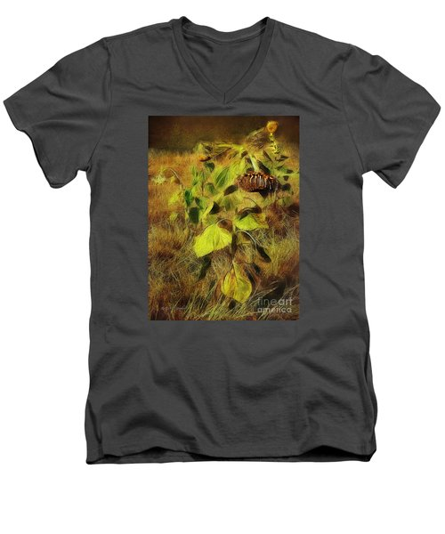 Men's V-Neck T-Shirt featuring the digital art Time Is The Enemy by Rhonda Strickland
