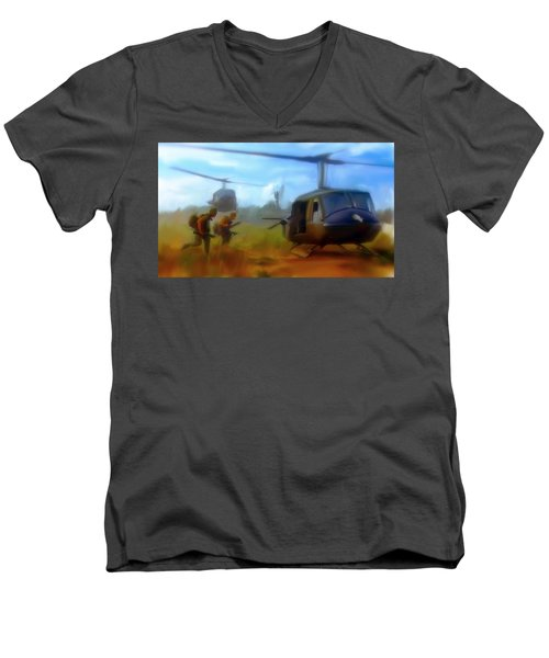 Time Sacrificed II Vietnam Veterans  Men's V-Neck T-Shirt by Iconic Images Art Gallery David Pucciarelli