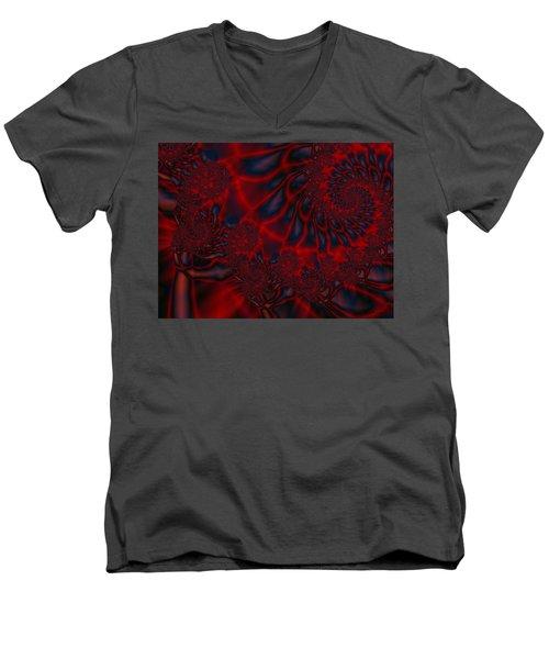 Men's V-Neck T-Shirt featuring the digital art Time Slide by Elizabeth McTaggart
