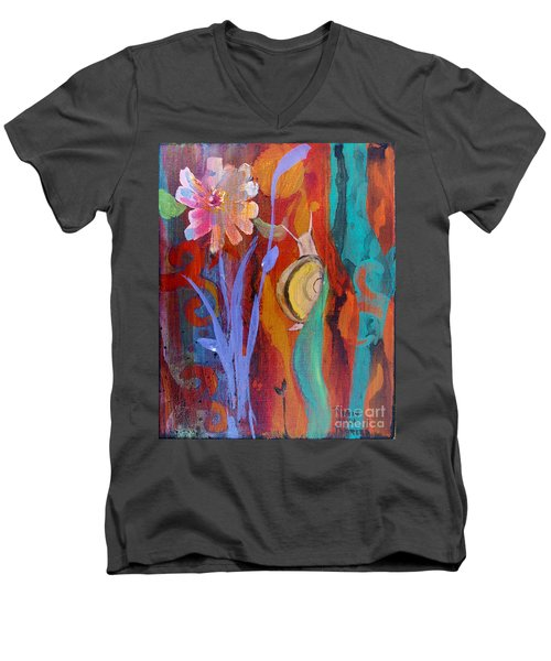 Men's V-Neck T-Shirt featuring the painting Time Traveler by Robin Maria Pedrero