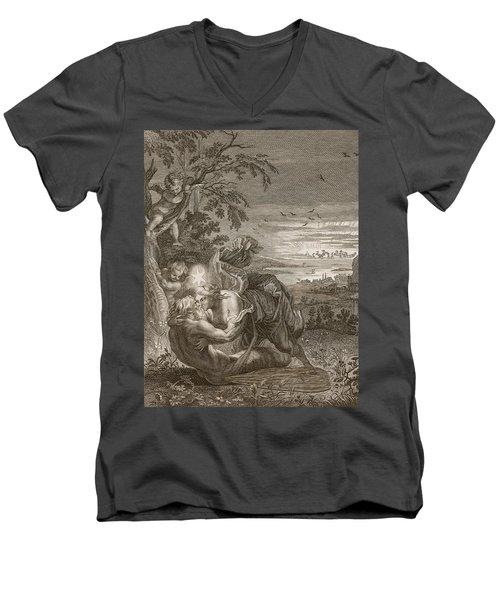 Tithonus, Auroras Husband, Turned Into A Grasshopper Men's V-Neck T-Shirt