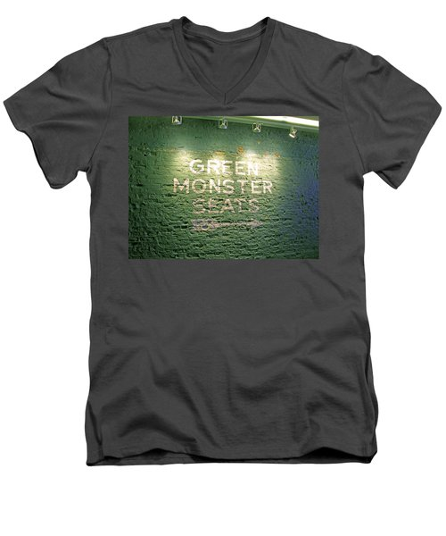 Men's V-Neck T-Shirt featuring the photograph To The Green Monster Seats by Barbara McDevitt