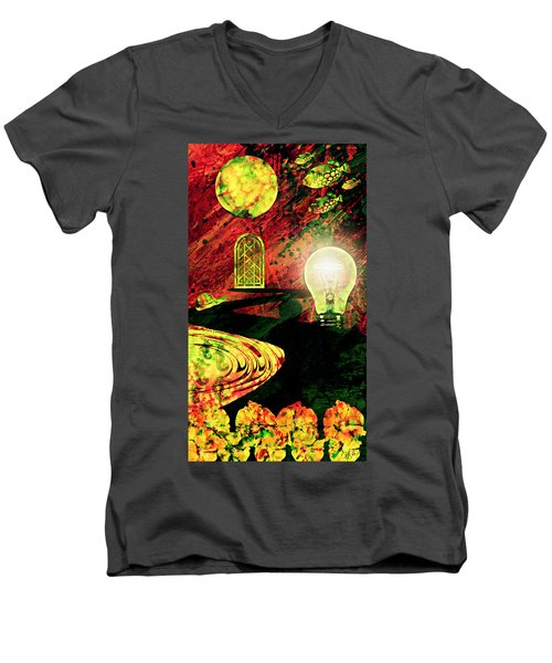 Men's V-Neck T-Shirt featuring the mixed media To The Light by Ally  White