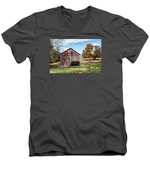 Men's V-Neck T-Shirt featuring the photograph Tobacco Barn Ready For Smoking by Debbie Green