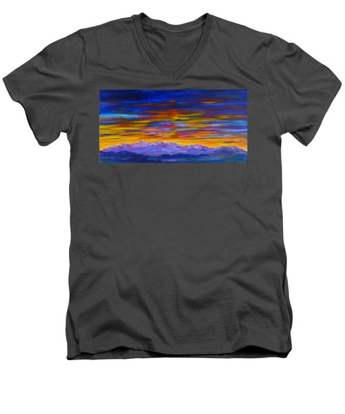 Tobacco Root Mountains Sunset Men's V-Neck T-Shirt