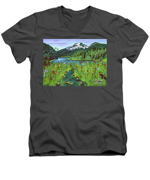 Todd Lake Mt. Bachelor Men's V-Neck T-Shirt
