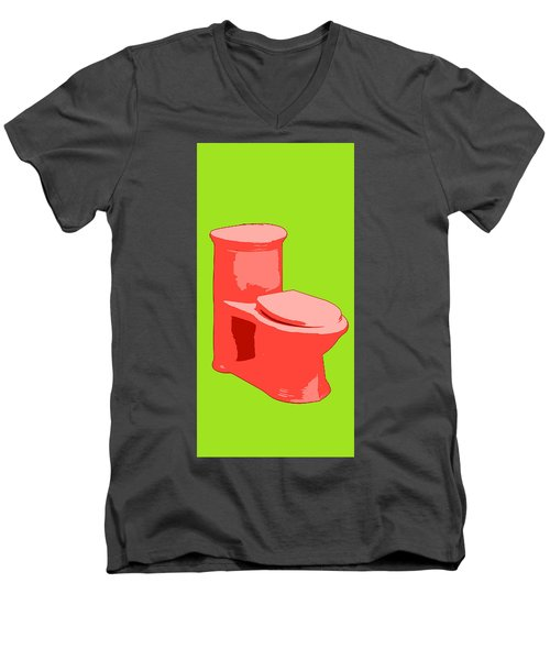 Toilette In Red Men's V-Neck T-Shirt