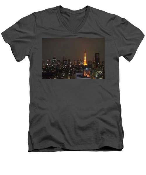 Tokyo Skyline At Night With Tokyo Tower Men's V-Neck T-Shirt by Jeff at JSJ Photography