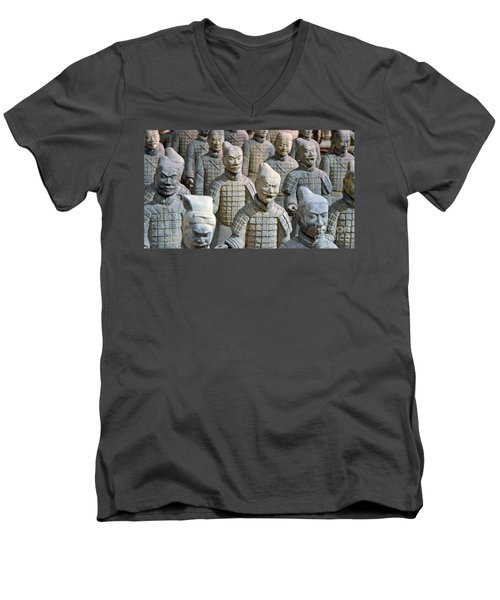 Men's V-Neck T-Shirt featuring the photograph Tomb Warriors by Robert Meanor
