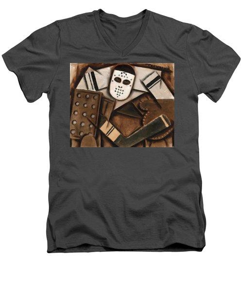 Abstract Cubism Vintage Hockey Goalie Art Print Men's V-Neck T-Shirt
