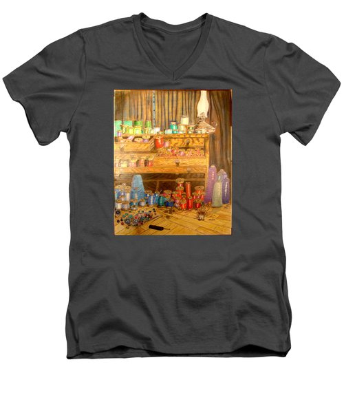 Tool Chest With Thimbles Men's V-Neck T-Shirt by Joseph Hawkins