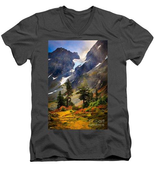 Top Of Cascade Pass Men's V-Neck T-Shirt by Inge Johnsson