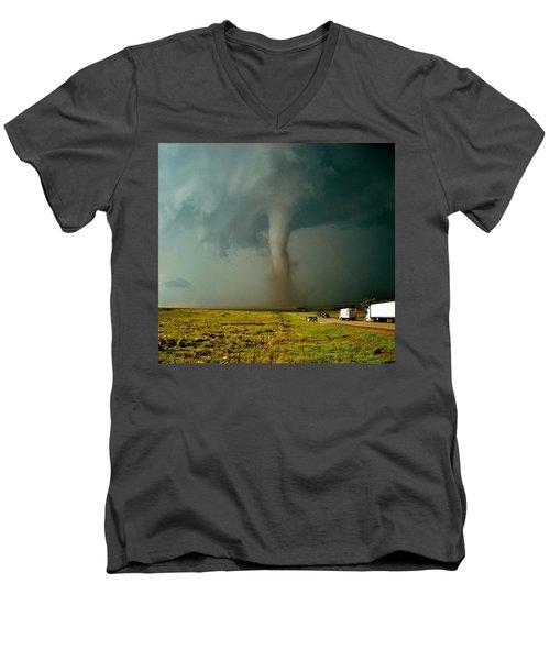 Tornado Truck Stop II Men's V-Neck T-Shirt by Ed Sweeney