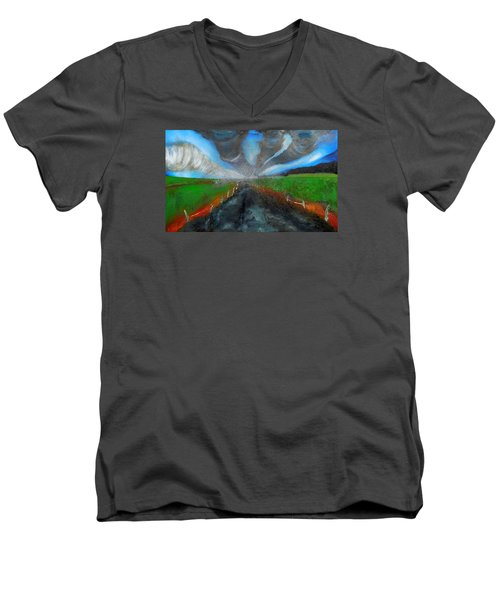 Tornadoes Men's V-Neck T-Shirt by Raymond Perez