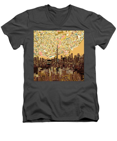 Toronto Skyline Abstract 9 Men's V-Neck T-Shirt