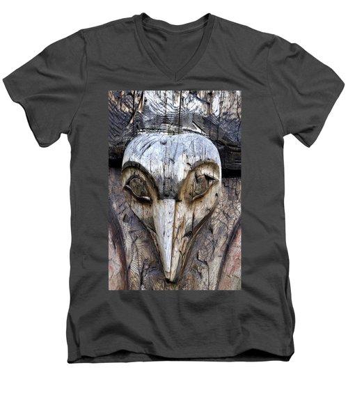 Totem Face Men's V-Neck T-Shirt by Cathy Mahnke