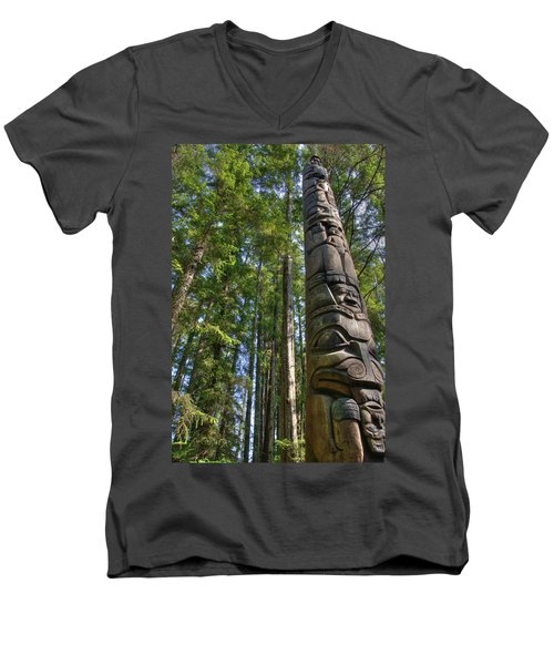 Totem Pole Men's V-Neck T-Shirt by David Andersen