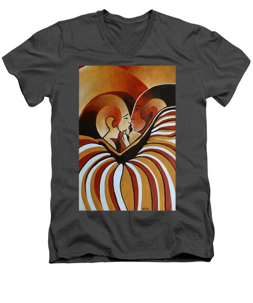 Men's V-Neck T-Shirt featuring the painting Touched By Africa I by Tracey Harrington-Simpson