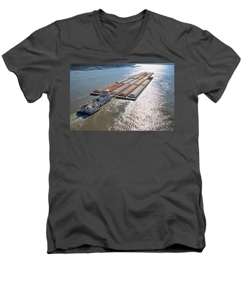 Towboats And Barges On The Mississippi Men's V-Neck T-Shirt